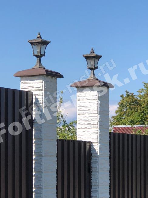 Блоки столба и забора Сланец Тонкорельефный и Крышки столба с карнизом